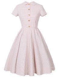 peter pan collar checked pin up dress in pink l sammydress com