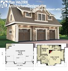 Architectural Designs Carriage House Plan 14631RK Gives You Parking For 3 Cars On The Main Floor