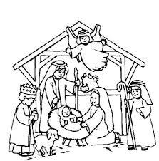 Nativity Scene Coloring Page