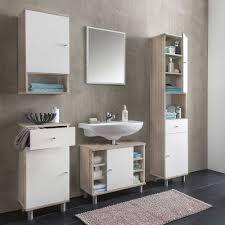 badezimmer ausstattung cadeka in weiß sonoma eiche 5 teilig