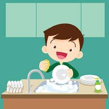 Cute Boy Doing DishesTeenage Washing Dishes Illustration