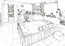 Bedroom Perspective Drawing Best One Point Room Ideas On Inside 2