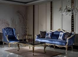 casa padrino luxus barock sofa blau silber gold handgefertigtes wohnzimmer sofa mit dekorativen kissen barock wohnzimmer möbel