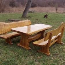 handmade live edge picnic table and benches by rustic wonders