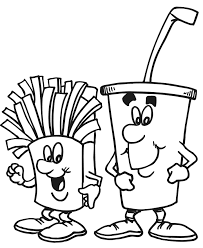 Food Coloring Page Of Happy Fries And A Drink