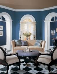 excellent informal brown and blue living room wall painted also