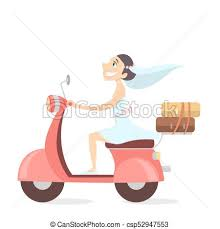 Bride On Scooter Vector