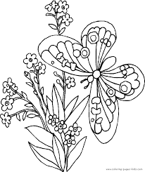 Butterfly With Flowers Free Printable Coloring Sheets For Kids