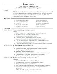 Janitorial Sample Resume Examples Work