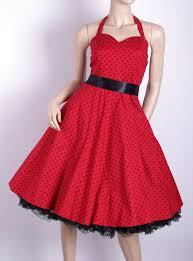 50s Polka Dot Halterneck Swing Dress Red With Black 81601