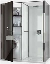 Compact Laundry Shower Cabin Combo For Small Spaces By Vismaravetro Such A Clever Idea The Washing Machine And Dryer Share Space With Linen Closet
