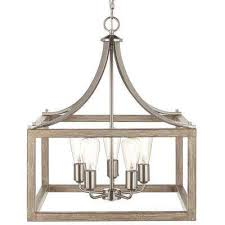 5 Light Brushed Nickel Chandelier With Painted Weathered Gray Wood