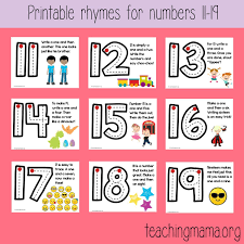Free Number Formation Rhymes Posters For The Numbers 1119 Great To