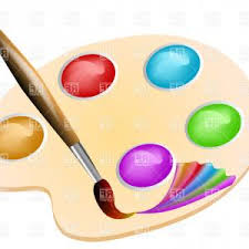 Paint Pallet Vector Palette And Paintbrush Clipart