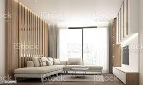 wohnzimmer modernen minimalen stil mit eingebauter wand dekoration und tvschrank mit holz und weißen marmor und sofaset 3drendering stockfoto und mehr