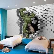 3D Avengers Photo Wallpaper Custom Hulk Unique Design Bricks Wall Mural Art Room Decor Painting