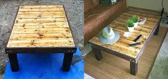 how to make a super cheap coffee stained wood pallet coffee table