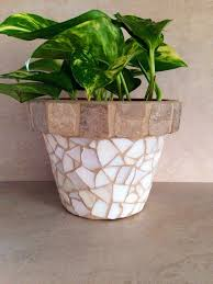 Mosaic Tile Flower Pot Indoor Planter Outdoor Rustic Herb Pots Kitchen