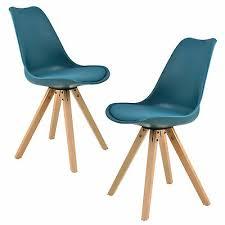 en casa 2x design stühle esszimmer türkis stuhl holz plastik kunst leder