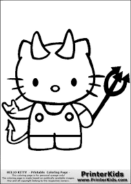 Happy Halloween Hello Kitty Coloring Page With Devil Makeup Clipart
