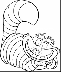 Astounding Alice Wonderland Cheshire Cat Coloring Pages With Disney Page And Stitch