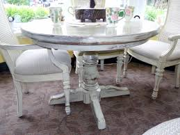 100 Oak Pedestal Table And Chairs Shabby Chic Cream Painted Round X4