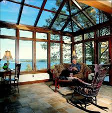 Awesome Sunroom In Classic Interior Design With Wood Framed Glass Windows Wall And Ceiling Also Antique