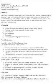 Examples Of Social Work Resumes Professional