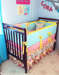 Teal And Coral Baby Bedding by Prepossessing Yellow And Pink Baby Bedding Top Home Decor Ideas