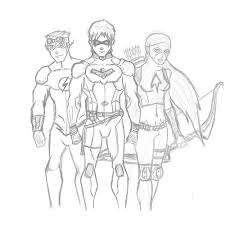 Young Justice Kid Flash Wally West Nightwing Dick Grayson Batman Beyond Sketch Coloring Page