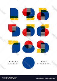 100 Bauhaus Style Poster With Font Of Numbers In Bauhaus Style