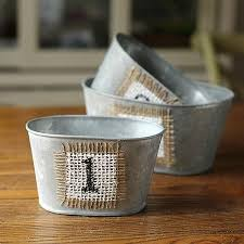 Rustic Decorative Number Metal Flower Planter Cachepot Set Of 3