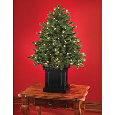 Prelit Christmas Tree Sets Itself Up by The World U0027s Best Tabletop Prelit Fraser Fir Hammacher Schlemmer