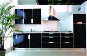 kitchen black high gloss wood kichen cabinet with stainless
