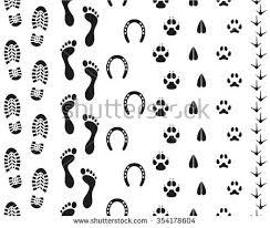 Seamless Human Footprints And Animal Tracks