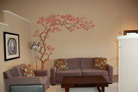 living room interior design with light brown painted wall added