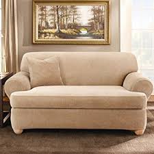 amazon com sure fit soft suede t cushion sofa slipcover taupe