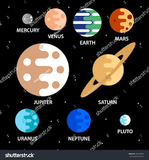 Simple Flat Icons Planets Solar System Stock Vector