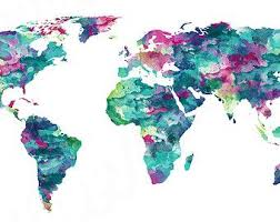 Cool Watercolor World Map Desktop Wallpaper Of Australia Showing Australian States And By