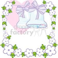Royalty Free blue wedding bells with a flower border vector clip art image EPS illustration