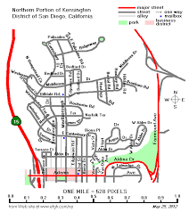 Street Map of Northern Part of the Kensington District of San Diego