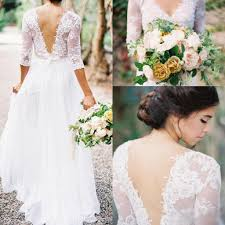 Discount 2017 Country Style A Line Wedding Dresses With V Neck 3 4 Sleeves Low Back Beach Bridal Gowns Long Chiffon Search Short