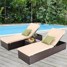 Furnimy 3 PCS Outdoor Patio Chaise Lounge Chair Set PE Rattan Wicker For  Poolside Porch Backyard, 2 Lounge Chairs With Chaise Lounge Cushion And 1  ... Amazoncom Wnew 3 Pcs Patio Fniture Outdoor Lounge Stark Item Chaise Chair Brown Festival 2pcs Patiorama Adjustable Pool Rattan With Cushion Espresso Pe Wickersteel Frame Christopher Knight Home 80x275 Green Pads For Chairs Set Of 2 Gojooasis Recliner Styles Biscayne Huyya Lounges Sun Outmax Wicker Folding Back Footrest Durable Easy Carry Poolside Garden 14th Mobility Armrest Chair Staggering Medium Pc