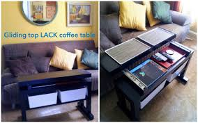 Ikea Sofa Table Lack by Gliding Top Cantilever Lack Coffee Table With Bin Lids That