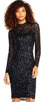 long sleeve sequin beaded cocktail dress with mock neck adrianna