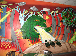 Benardo Diaz Painted The Godzilla Invading Downtown Toledo On Back Wall Of Spicy Tuna