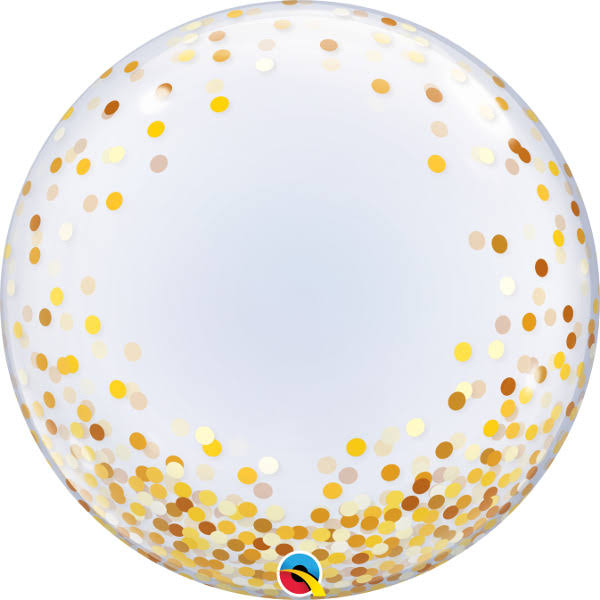 "24"" Gold Confetti Dots Bubble Balloon"