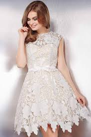 we are loving this jovani 32541 lace fit and flare dress with an