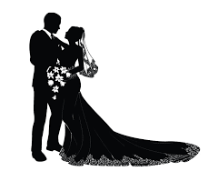 Bride And Groom Silhouette Clipart Black White 8