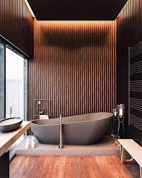 badezimmer dunkel einrichten graue badewanne bad design